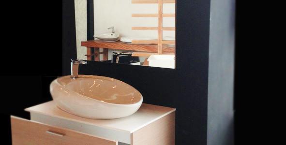 Gabinete para baño individual en madera color haya